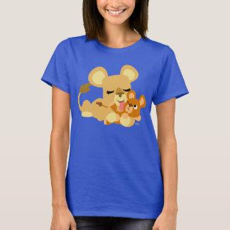 T-shirt bonito das mulheres do banho do leão do camiseta