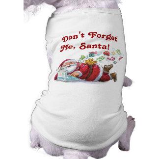 T-shirt bonito do cão do Natal do papai noel Camisa Sem Mangas Para Cachorro