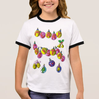 T-shirt bonito do Natal da menina Camiseta Ringer