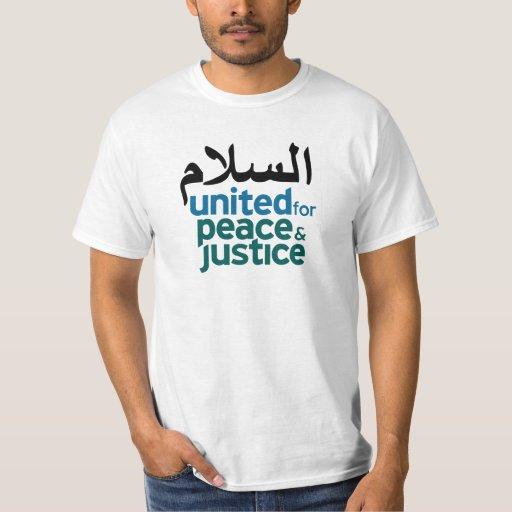 "T-shirt branco árabe da ""paz"" camiseta"