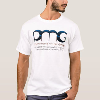 T-shirt branco dos homens do PMG & de prata básico Camiseta
