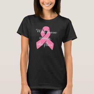 T-shirt bravo das asas do cancro da mama camiseta