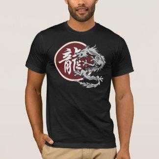 T-shirt chinês do preto do dragão do sinal do camiseta