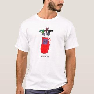 T-shirt cómico do Natal do saco de golfe do papai Camiseta