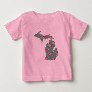 T-shirt cor-de-rosa bonito | Michigan dos rosas | Camiseta Para Bebê
