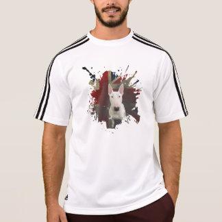 T-shirt corajoso branco de bull terrier Union Jack Camiseta
