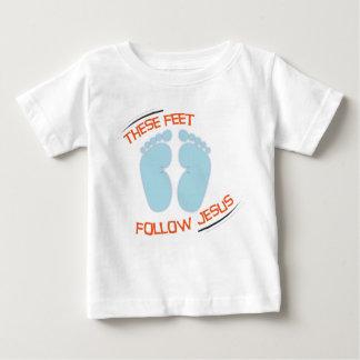 T-shirt cristão do bebê: Siga Jesus