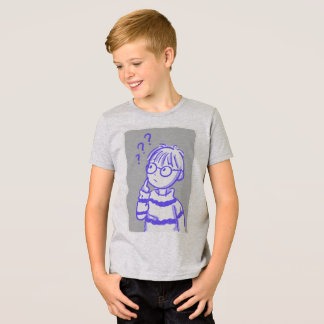T-shirt curioso do menino camiseta