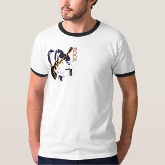 T-shirt curtinho do pescoço, Branco/Preto desenho