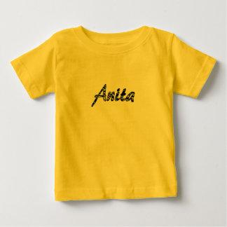 T-shirt curto da luva de Anita no amarelo