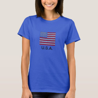T-shirt da bandeira dos EUA, corações brancos & Camiseta