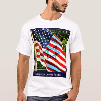 T-shirt da bandeira israelita e americana camiseta