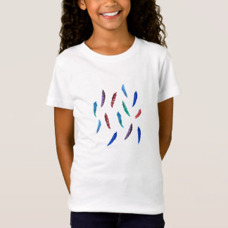 T-shirt da boneca das meninas com penas camiseta