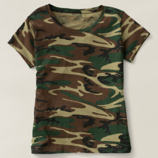 T-shirt da camuflagem das mulheres camiseta