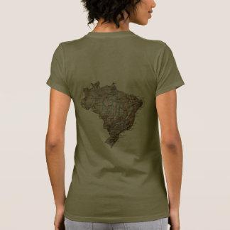 T-shirt da DK da bandeira e do mapa de Brasil