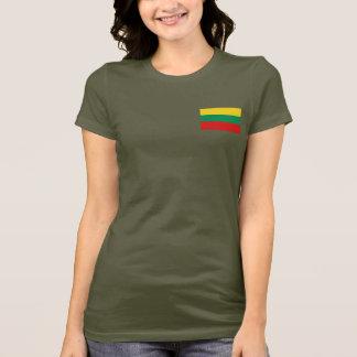 T-shirt da DK da bandeira e do mapa de Lithuania Camiseta