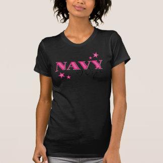 T-shirt da esposa do marinho do rosa quente camiseta