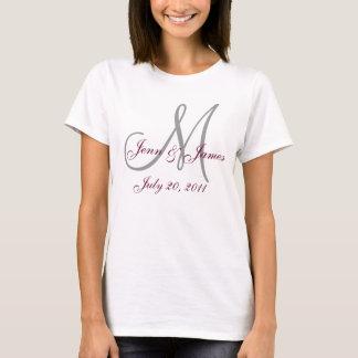 T-shirt da festa de casamento do monograma camiseta