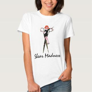 T-shirt da loucura da tesoura (cabeça vermelha)