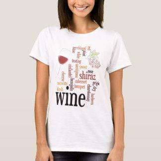 T-shirt da nuvem da palavra do vinho camiseta