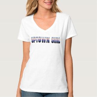 T-shirt da parte alta da cidade da menina camiseta
