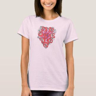 T-shirt dado forma coração da flor camiseta