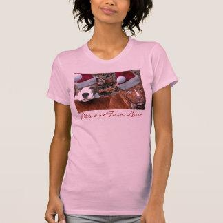 """T-shirt das meninas do amor do Natal """"dois"""" de Pit"""