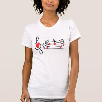 T-shirt das notas musicais do coração do amor