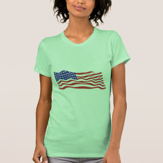 T-shirt das senhoras da bandeira dos EUA pequeno