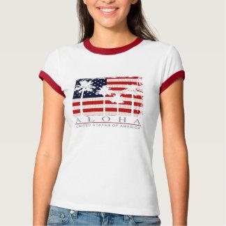 T-shirt das senhoras dos EUA da bandeira da palma