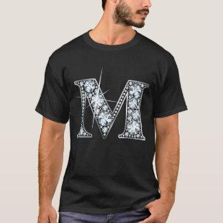 """T-shirt de Bling do diamante de """"M"""" Camiseta"""