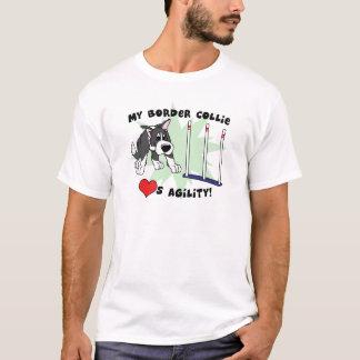 T-shirt de border collie da agilidade dos desenhos camiseta