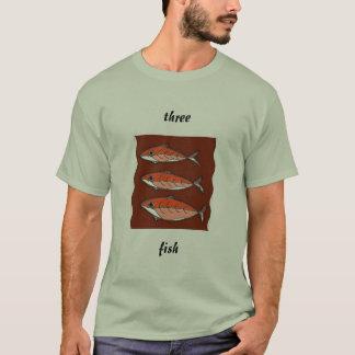 t-shirt de três peixes camiseta