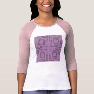 T-shirt de três quartos malva branco cor-de-rosa
