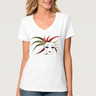 T-shirt de V-Pescoço da senhora Palhaço de Máscara