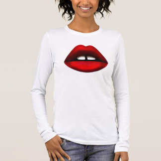 T-shirt dentado aberto da menina camiseta manga longa