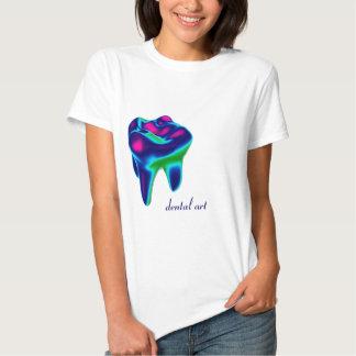 T-shirt dental do dentista da arte do dente azul