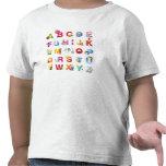 t-shirt do alfabeto da criança