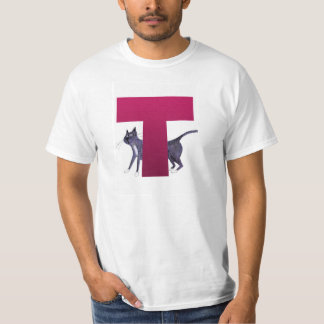 T-shirt do alfabeto T do gato
