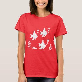 T-shirt do Angelfish, peixe com bolhas, camisa da
