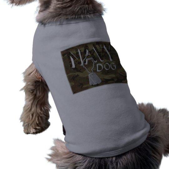 T-shirt do animal de estimação do marinho camiseta