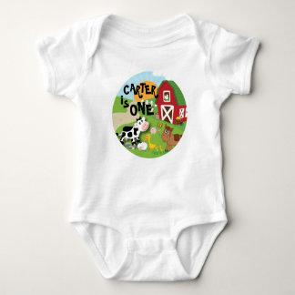 T-shirt do aniversário do animal de fazenda body para bebê
