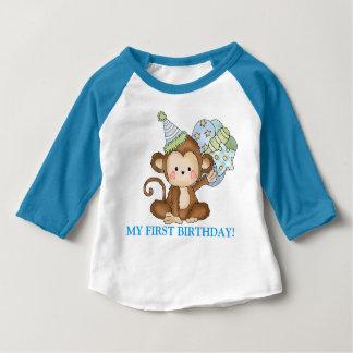 T-shirt do aniversário do macaco do bebé primeiro camiseta para bebê