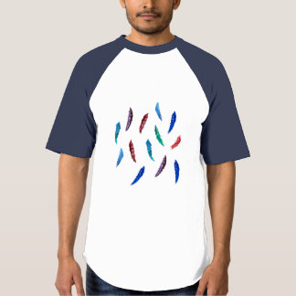 T-shirt do basebol dos homens com penas camiseta