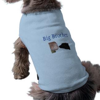 T-shirt do big brother do filhote de cachorro camisa sem mangas para cachorro