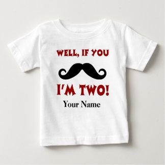 T-shirt do bigode do segundo aniversário camiseta para bebê