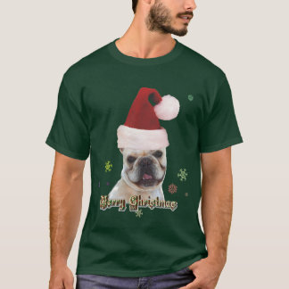 T-shirt do buldogue francês do Natal Camiseta