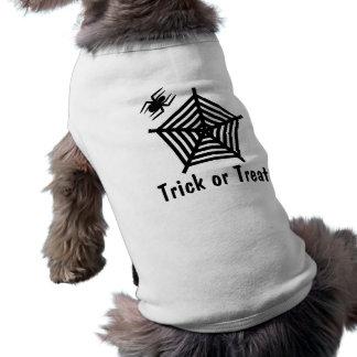 T-shirt do cachorrinho da doçura ou travessura do camisa sem mangas para cachorro