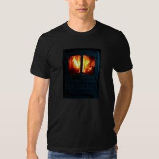 T-shirt do calor de feltro do coração
