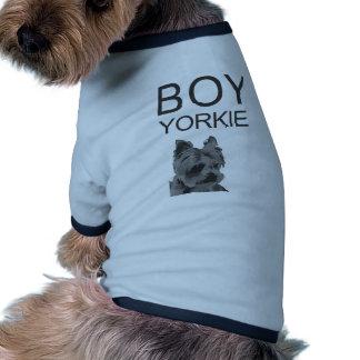 T-shirt do cão de Yorkie do menino Camisa Ringer Para Cachorro